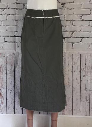 Длинная юбка цвета хаки! очень крутая