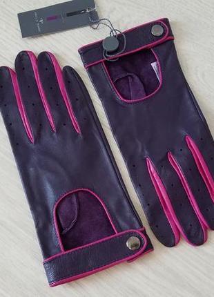 Pied a terre кожаные автомобильные женские перчатки с перфорацией