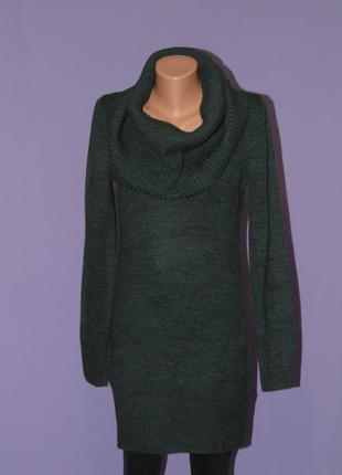 Стильный свитер платье бутылочного цвета