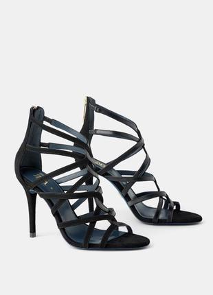Кожаные босоножки blue collection на каблуке zara, туфли, сандали, мюли