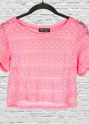 Неоновый топ футболка розовая, короткая футболка сетка