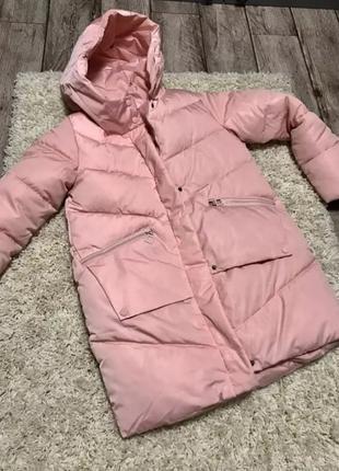 Куртка пуховик женская зимняя парка тренд 2019 оверсайз бойфренд пудра зефирка