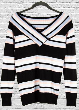Полосатый свитер с опущенными плечами, осенний свитер приталенный