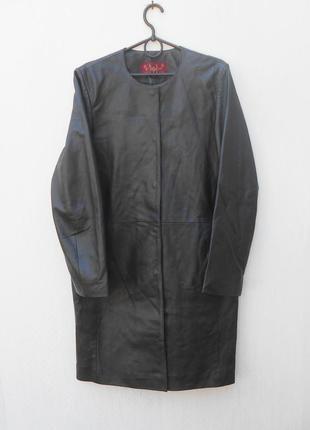 Черный кожаный осенний классический тренч женский плащ olly formals & co