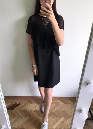 Актуальное чёрное платье-двойка от f&f, платье 2в1, платье на брительках + топ сетка