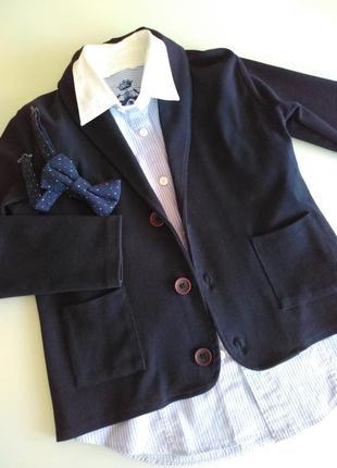 Пиджак трикотажный синий на 8-9 лет