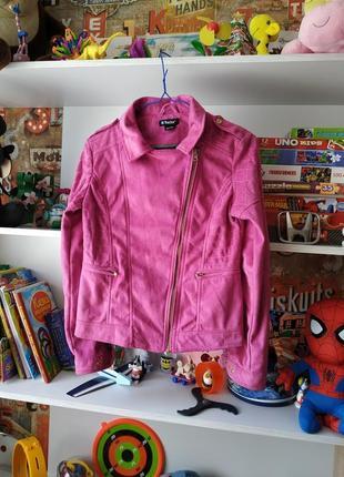 Розовая куртка косуха под замш