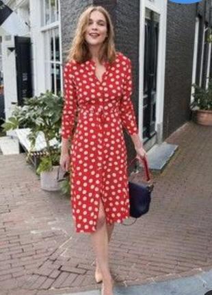 Красное платье халат на пуговицах вискоза boden англия