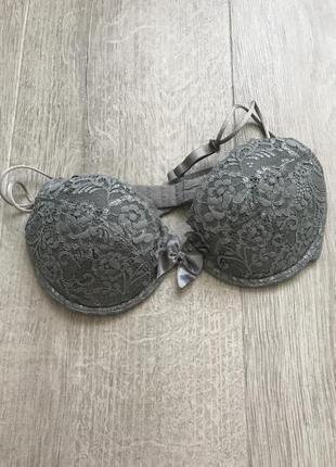 Серый кружевной бюстгальтер лиф h&m