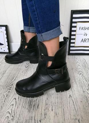 Новые шикарные женские черные кожаные осенние ботинки