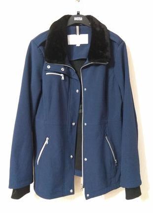 Крутая темно синяя куртка с меховым воротником jessica simpson размер l-xl 12-14