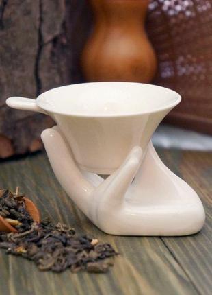 "Ситечко сито для чая керамика с подставкой ""рука"""