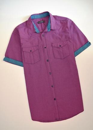 Мужская рубашка в клетку c карманами collezione короткий рукав