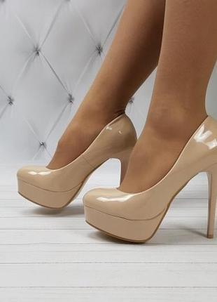 Новые шикарные женские бежевые туфли