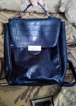 f9e10a88a64b Брендовый крутой рюкзак next кожаный кожзам под кожу крокодила Next ...