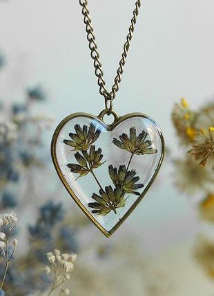 Кулон-сердце с лавандой