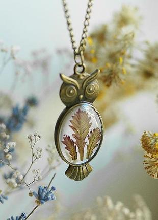 Кулон-сова с листиками дуба