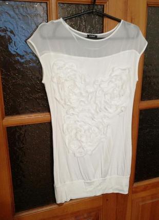 Стильная мягенькая туника платье молоко