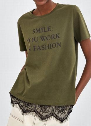 Zara 2019 футболка с кружевом s м 36 10 44