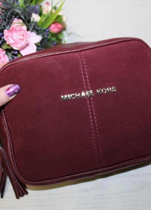 Женская маленькая замшевая сумочка бордовая