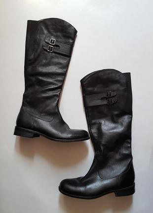 Шикарные черные высокие кожаные сапоги,классические качественные демисезонные сапоги