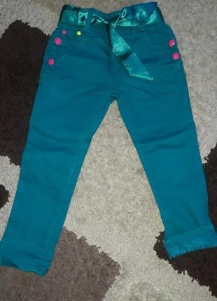 Котоновые штанишки с атласным поясом