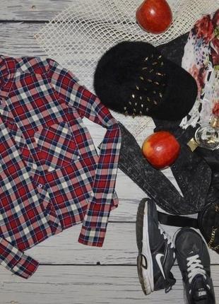 2/32/xs h&m модная натуральная фирменная фланелевая рубашка стильной девушке клетка