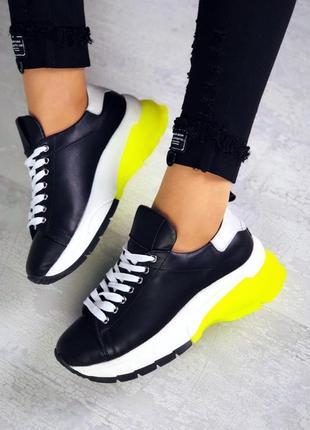 Натуральная кожа эксклюзивные черные трендовые кроссовки с неоновой пяткой