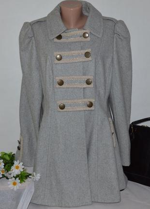 Брендовое серое шерстяное демисезонное пальто с карманами dorothy perkins этикетка