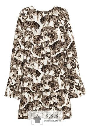 Обалденное,стильное платье кошачий принт h&m
