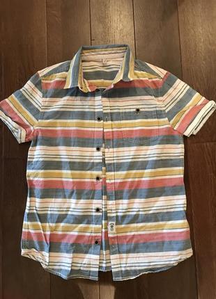 Хлопковая рубашка в полоску от marks&spencer! p.-9/10лет