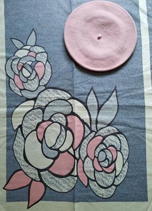 Комплект двухсторонний зимний шарф-палантин тюльпаны и берет тonak чехия