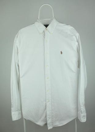 Оригинальная белоснежная рубашка ralph lauren oxford cotton yarmouth