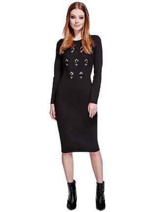 Шикарное платье миди в камнях m&s, размер 10 (см. замеры)