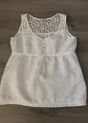 Блузка белая, с кружевной вставкой esprit