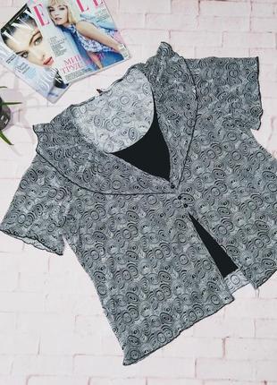 Двухслойная блуза топ кофточка декорирована воротником оборкой