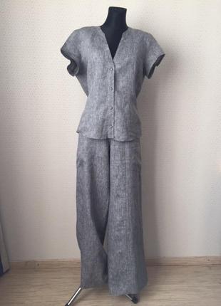 Классный льняной комплект (блуза, брюки) от голландского бренда heart, размер l-xl