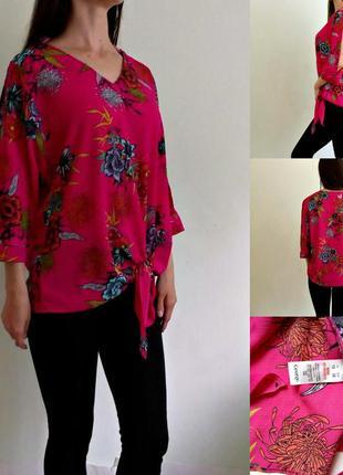 Яркая розовая блуза оверсайз