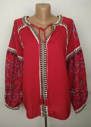 Блуза рубаха натуральная льняная с вышивкой next uk 12/40/m