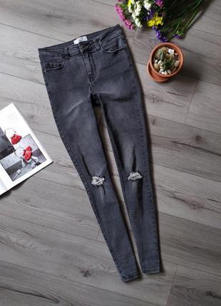 Джинси / скіні / штани / скини / рвані /джинсы серого цвета / сірі