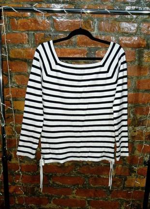 Стильный пуловер джемпер из трикотажа в полоску со шнуровкой george