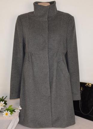 Брендовое серое утепленное шерстяное пальто с карманами stockh lm синтепон этикетка