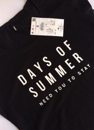 Черная футболка sinsay с прикольной надписью
