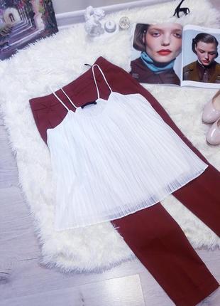 Zara белый топ плиссе  на брительках