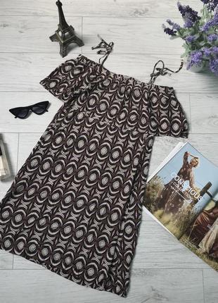 Красивое легкое летнее платье с отрытыми плечами с узором h&m p. s