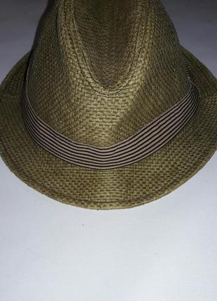 Шляпа из 100%  бумажной соломки с пропиткой оливкового цвета