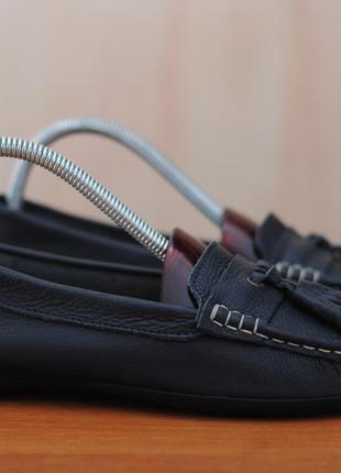 Черные кожаные женские мокасины, туфли, топсайдеры, балетки clarks, 38 размер. оригинал