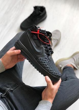 Шикарные кроссовки nike lunar force duckboot black чёрные