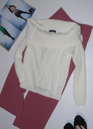 Кремовый свитер с отложным воротником  от select
