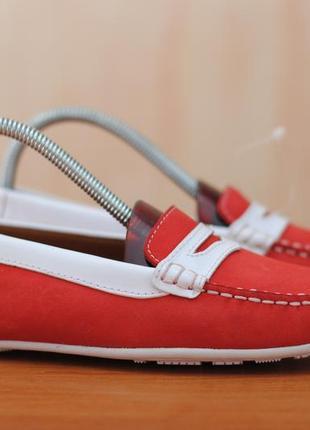 Красные кожаные женские мокасины sebago, 37.5 размер. оригинал
